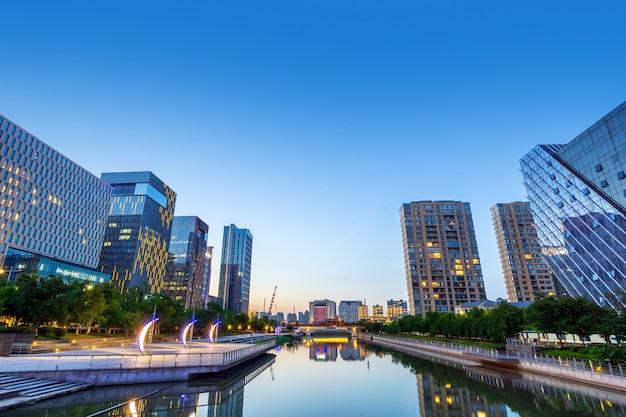 Ninbo, cidade, china, noturna, vista