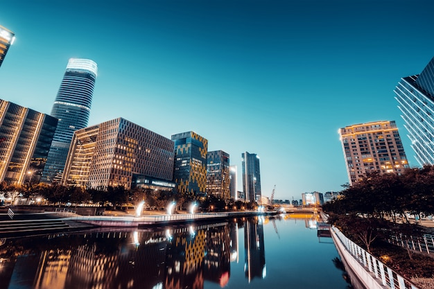 Ninbo city, china, visão noturna