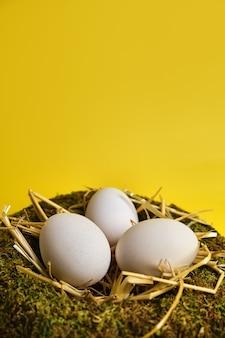 Ninho de cesta de páscoa com ovos de páscoa em fundo amarelo com espaço de cópia