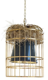 Ninho de pássaro em uma lâmpada de gaiola de latão no teto em branco isolado