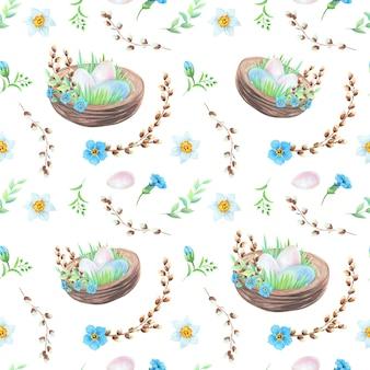 Ninho em aquarela com ovos de páscoa e padrão de flores em fundo branco. conceito de páscoa.