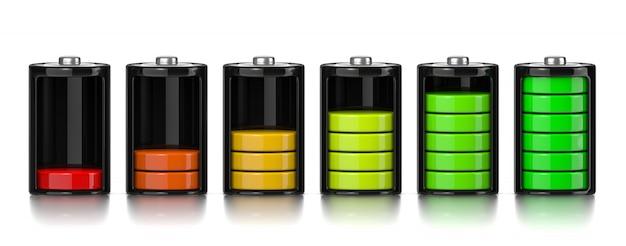 Níveis de carga conjunto de baterias