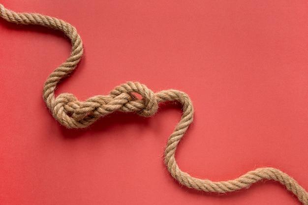 Nó de corda de marinheiro de alta vista