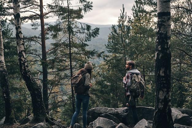 No meio do nada. jovem casal em pé e olhando para longe enquanto caminham juntos na floresta