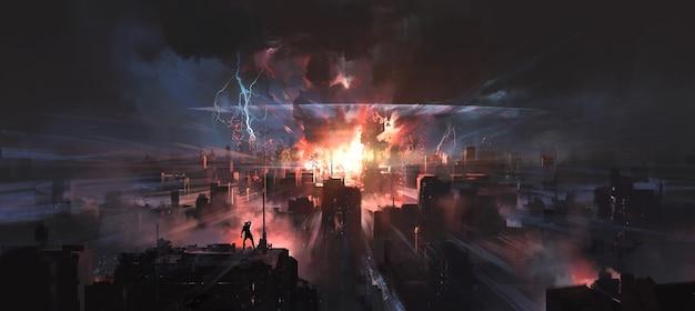 No momento em que a cidade foi atingida por uma bomba nuclear, pintura digital.