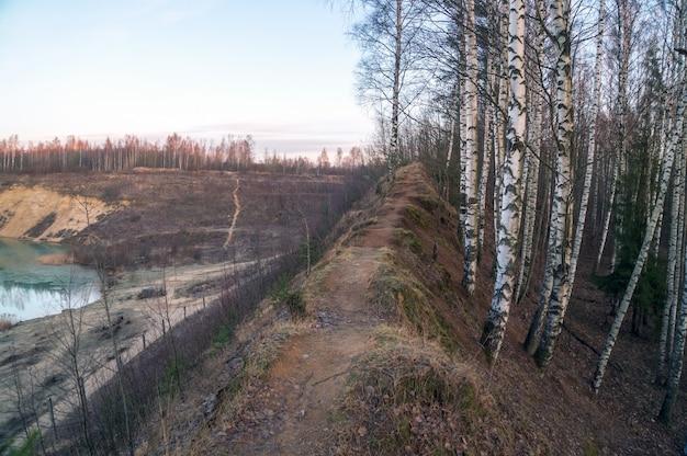 No topo da colina, há um caminho entre as árvores na margem de uma pedreira de areia.