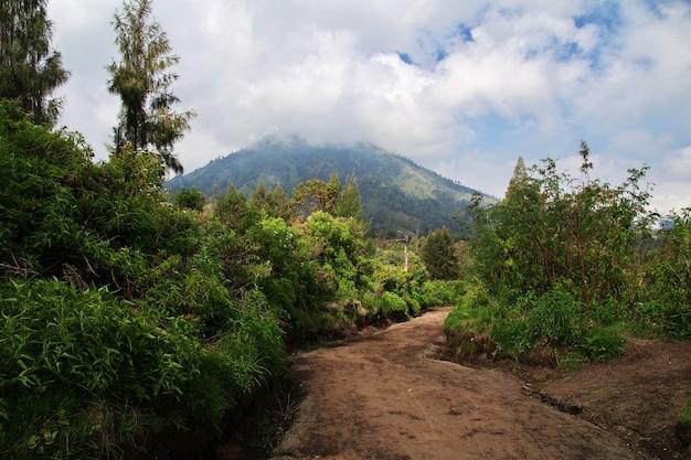 No topo do vulcão ijen, indonésia