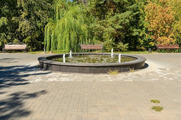 No verão, há uma fonte no parque da cidade. descanse para a família no parque.