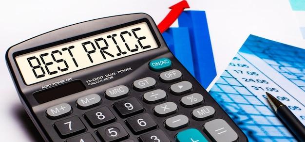 No visor da calculadora, há uma inscrição melhor preço. perto estão diagramas e gráficos coloridos. conceito de negócios