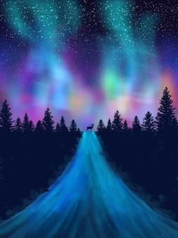 Noite com papel de parede de aurora verde e roxo