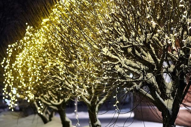 Noite de natal feriado iluminação guirlanda de luz nas árvores