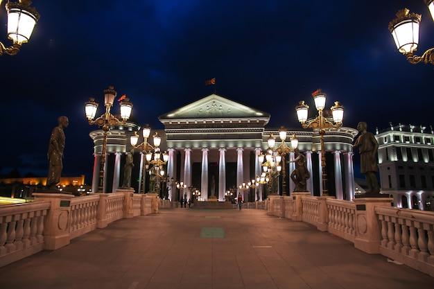 Noite em skopje na macedônia