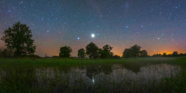 Noite estrelada no parque nacional prypiacki, bielo-rússia