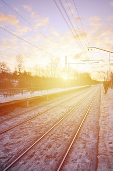 Noite, inverno, paisagem, com, a, estação de comboios