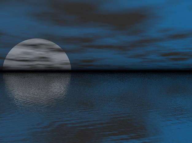 Noite oceano meia lua mar nuvens céu