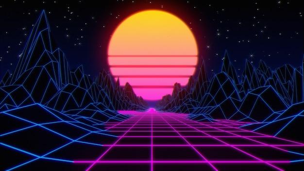 Noite retrô abstrata do espaço dos anos 80