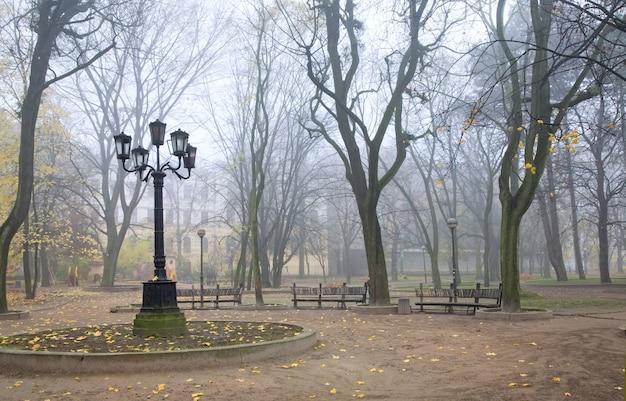 Noite sombria e nebulosa no outono parque urbano com lâmpada e bancos