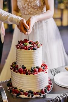 Noiva e noivo cortando bolo de casamento