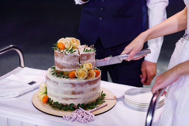 Noiva e noivo em uma recepção de casamento cortando o bolo de casamento