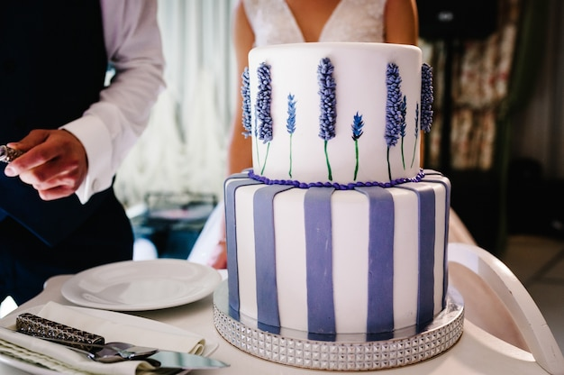 Noiva e noivo estão cortando bolo rústico no banquete.