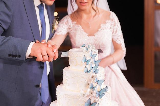 Noiva e noivo estão cortando seu bolo de casamento