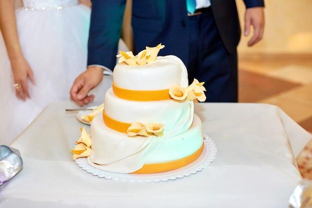 Noiva e noivo estão de pé antes do bolo de casamento branco decorado