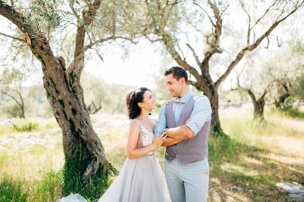 Noiva e noivo no olival, olhando um para o outro.