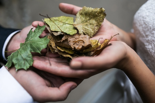 Noiva e noivo segurando anéis de casamento e folhas de outono nas mãos