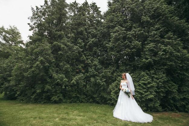 Noiva linda em um vestido de noiva magnífico, posando entre uma vegetação na rua.