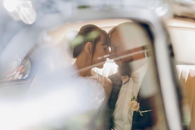 Noiva noivo, beijando, de, amantes, cima, retrato