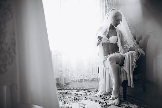 Noiva, preparar, para, cerimônia casamento