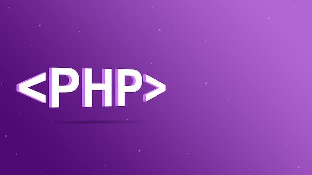 Nome da linguagem php entre colchetes do programa em um fundo roxo 3d