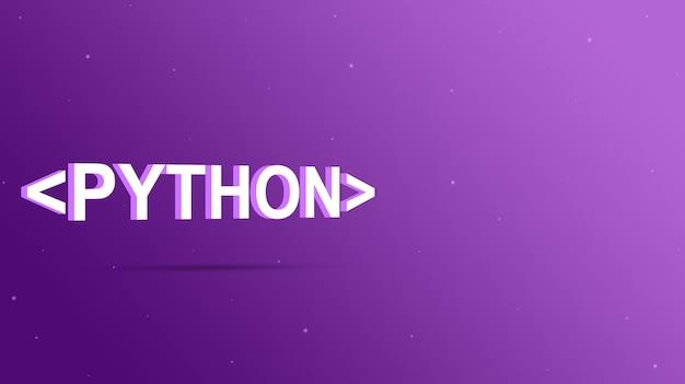 Nome da linguagem python entre colchetes do programa em um fundo roxo 3d