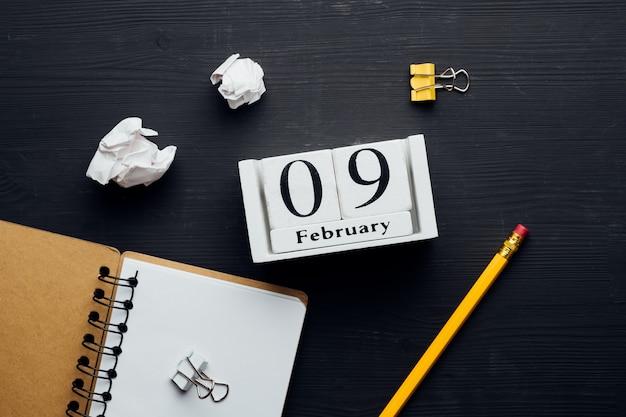 Nono dia do mês de inverno, calendário de fevereiro.