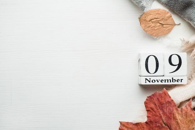 Nono dia do mês de outono calendário de novembro