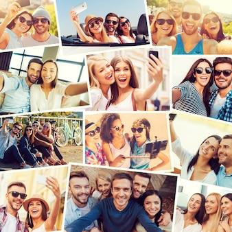 Nós amamos selfie! colagem de diversos jovens multiétnicos fazendo selfies e expressando positividade