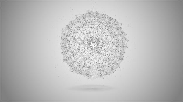 Nós cinzentos abstratos do sistema de dados digitais da esfera e trajetos da conexão.