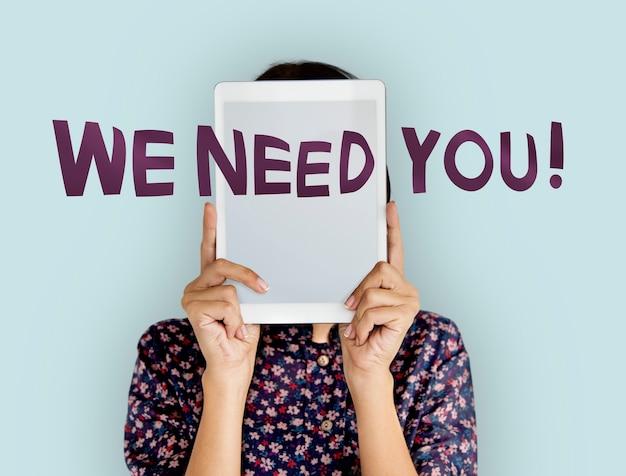 Nós precisamos de você. citação e mulher.