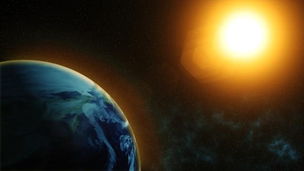 Nosso planeta terra, o sol brilha no planeta terra como visto do espaço