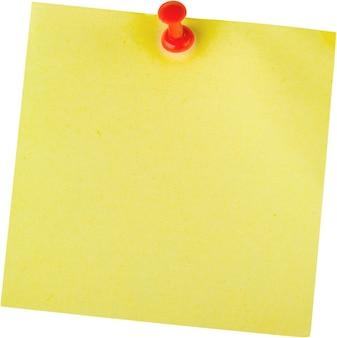 Nota adesiva amarela com alfinete - isolada