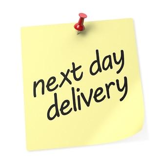 Nota adesiva amarela de entrega no dia seguinte com alfinete vermelho. renderização 3d