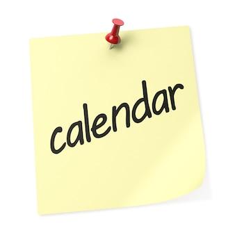 Nota adesiva amarela do calendário com alfinete vermelho. renderização 3d