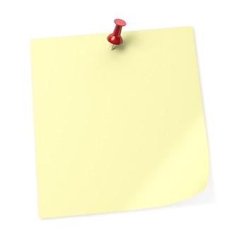 Nota adesiva amarela vazia com alfinete vermelho. renderização 3d