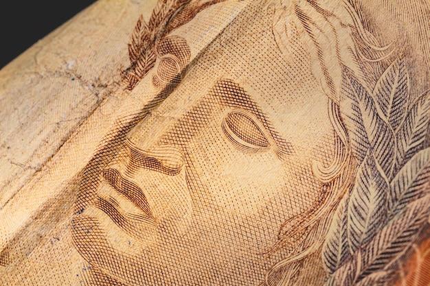 Nota de 50 reais do real brasileiro em macro foto para o conceito da economia brasileira