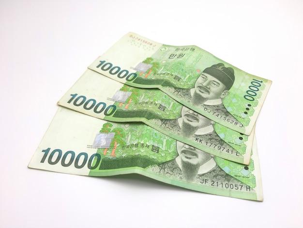 Nota de banco coreana isolada