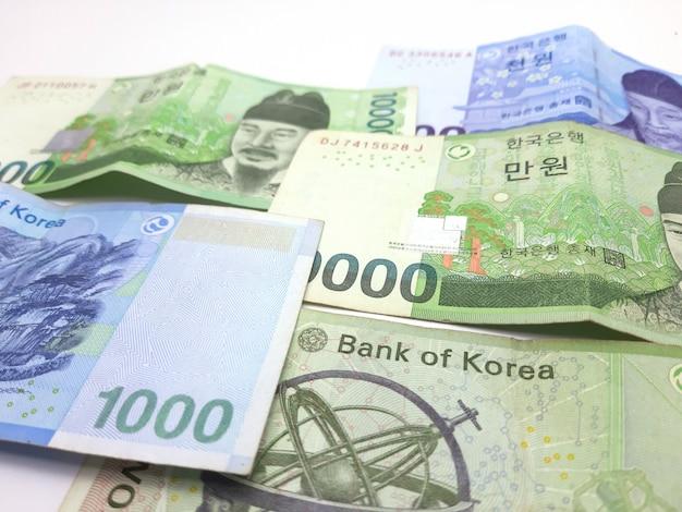Nota de banco coreano em branco