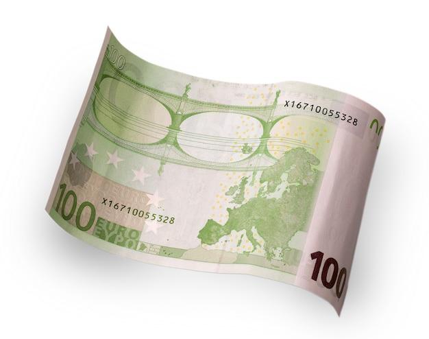 Nota de cem euros atrás da onda esculpida em uma superfície branca