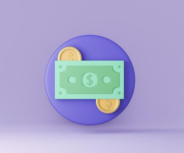 Nota de dinheiro do ícone 3d com moedas no círculo azul. renderização de ilustração 3d.