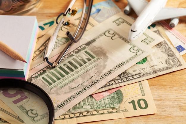 Nota de dólar, conceito de planejamento de negócios e finanças