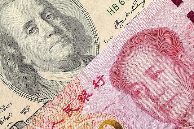 Nota de dólar dos eua e macro de notas de yuan da china